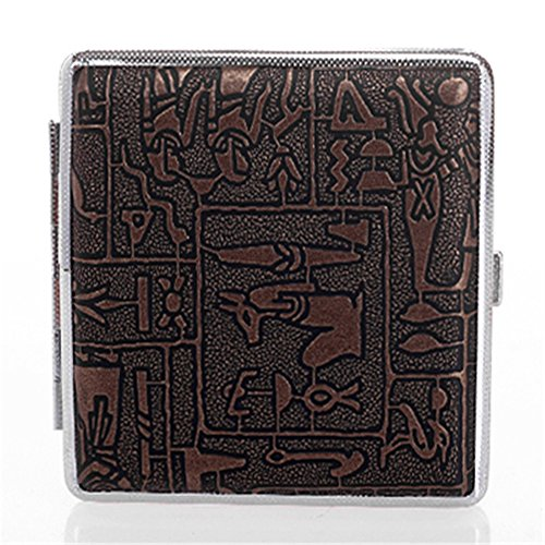 MGStyle 84's 20 Pcs Cigarette Case Box - Metal Alloy - Brown & Silver Tone - Regular Size For Men or (Tone Cigarette Case)