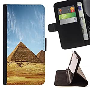 ForSamsung Galaxy S3 MINI i8190 (NOT S3) Case , Arquitectura antigua pirámides de Giza- la tarjeta de Crédito Slots PU Funda de cuero Monedero caso cubierta de piel