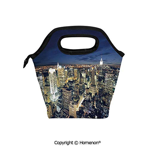 Insulated Neoprene Soft Lunch Bag Tote Handbag lunchbox,3d prited with Modern Cityscape After Sunset Manhattan New York USA Architectural View,For School work Office Kids Lunch Box & Food Container