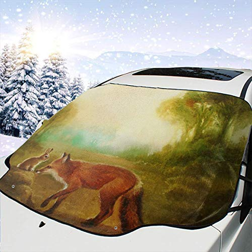 SHNUFHBD Car Windshield Cover Blocks Snow, Ice, Sun Isabella and The Fox Weatherproof UV Rays Blocker Fits Most Car, SUV, with Storage Bag ()