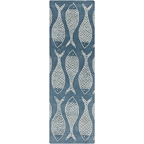 Surya LTH7028-268 Hand Tufted Casual Rug, 2-Feet 6-Inch by 8-Feet, Teal/Beige by Surya