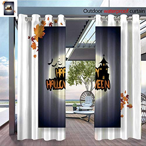(Outdoor CurtainHalloween-Vector-Poster-Flyer-with-autumn-leaves--and-Happy-Halloween-lettering-with-grungy-font-2.jpg Room Darkening Waterproof Curtain for Indoors and Outdoor W108