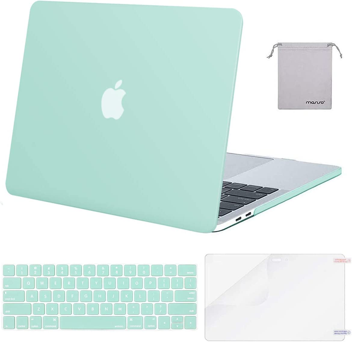 MOSISO MacBook Pro 15 inch Case 2019 2018 2017 2016 Release A1990 A1707, Plastic Hard Shell Case&Keyboard Cover&Screen Protector&Storage Bag Compatible with MacBook Pro 15 Touch Bar, Mint Green