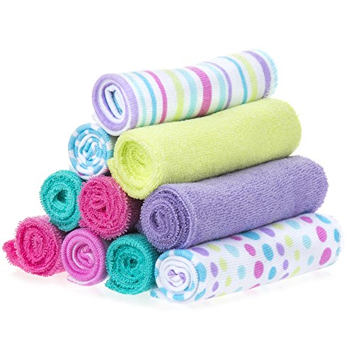 Spasilk 10 Piece Soft Terry Washcloth, Aqua Bubbles