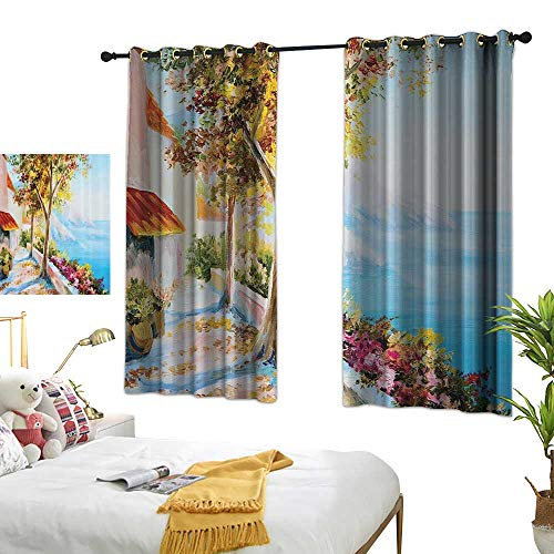 Warm Family Simple Curtain Lakehouse Decor Collection Summer House with Sea and Mountain View Terrace Trees and Flowers in Autumn Oil Painting Noise Reducing 55