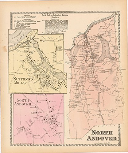Historic Pictoric Map | Atlas of Essex County Massachusetts, North Andover 1872 | Vintage Poster Art Reproduction | 24in x 30in