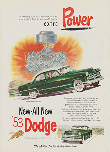 Extra Power! New-All New Dodge Coronet Club Coupe ad 1953 USN