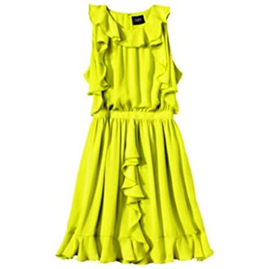 ce47c0db9d1e Prabal Gurung Ruffle Cocktail Chiffon Dress Lime Green Sz 10 at ...