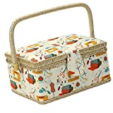 MagiDeal European Vintage Fabric Covered Sewing Basket Household Storage Box with Insert Tray DIY Sewing Crafts Tools Organizer Accessories 24x17.5x13cm - Orange