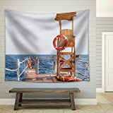 wall26 - Life Guard Tower at The Eand of Pier - Fabric Wall Tapestry Home Decor - 51x60 inches
