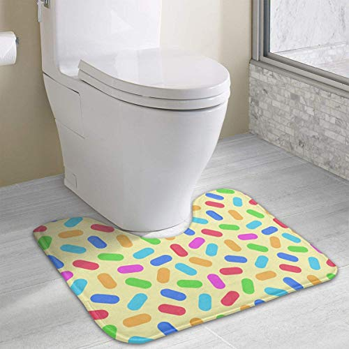 Bennett11 Colorful Pills U-Shaped Toilet Floor Rug Non-Slip Toilet Carpets Bath Mats Rug 19.2″x15.7″