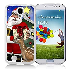Galaxy S4 Case,Christmas Gifts Santa Grandpa With Deer Christmas Series-TPU White S4 Protective Case,Samsung S4 I9500 Case