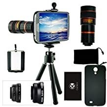 CamKix Camera Lens Kit for Samsung Galaxy S4 including 8x Telephoto Lens / Fisheye Lens / Macro Lens / Wide Angle Lens / Tripod / Phone Holder / Hard Case / Velvet Bag / Microfiber Cleaning Cloth