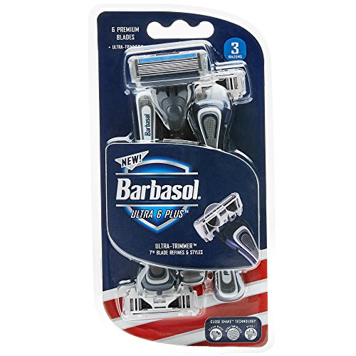 Barbasol Ultra 6 Plus Premium Disposable Razor, 3 Count
