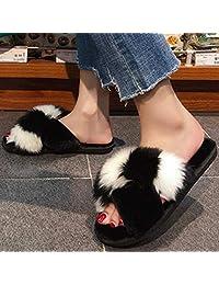 ZYGAJ Women's Fur Slippers Outdoor Slippers Platform Flat Heels High-Heeled Lace-Up Sandals Ladies Shoes Non-Slip Women