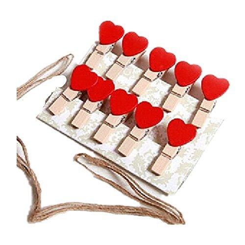 Juego de 2 Deco de pared DIY amor coraz/ón foto Clips Pinzas Conjunto de 10/mini color rojo