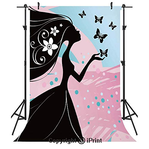 Spring Photography Backdrops,Silhouette of Madam Butterfly Floral Head in Soft Background Artwork,Birthday Party Seamless Photo Studio Booth Background Banner 6x9ft,Black Light Pink Sky Blue (Madam Gold Solid)