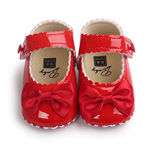 Sabe Infant Baby Girls Soft Sole Prewalker Crib Mary Jane Shoes Princess Light Shoes (6-12 Months Infant, red)]()