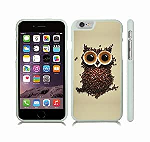 Case Cover For SamSung Galaxy S4 with Coffee Owl, Owl Shaped Design with Coffee Beans and Cups of Coffee Snap-on Cover, Hard Carrying Case (White)