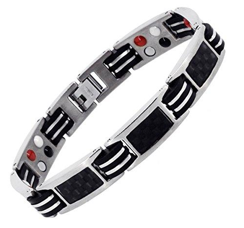 Mandala Crafts Men Titanium Bracelet Magnetic Silver Tone Wristband with Ion Germanium Magnet 4 Elements, Masculine Link (Rubber Black Carbon Fiber) ()