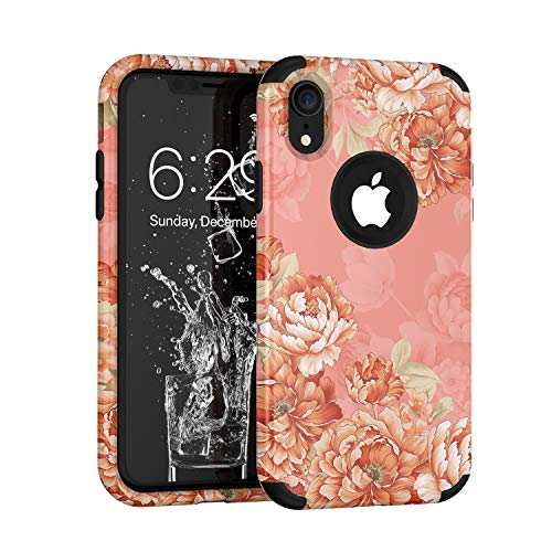 iPhone XR Case, Yoomer 3 in 1 Unique Cute Flower Design Shockproof Hybrid Sturdy Armor High Impact?Defender Cover Silicone Rubber Skin Hard Back Cover Combo Bumper Protective Case for iPhone XR 6.1