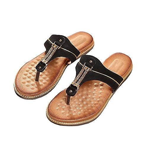 Ofenbuy Women's Flat Heel Comfort Thong Gladiator Sandles