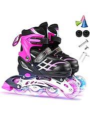 Lixada Inlineskates voor kinderen, inlineskates, rolschaatsen voor meisjes en jongens, helder, ademend, comfortabel, verstelbaar, maat 27-41, zwart/blauw/roze