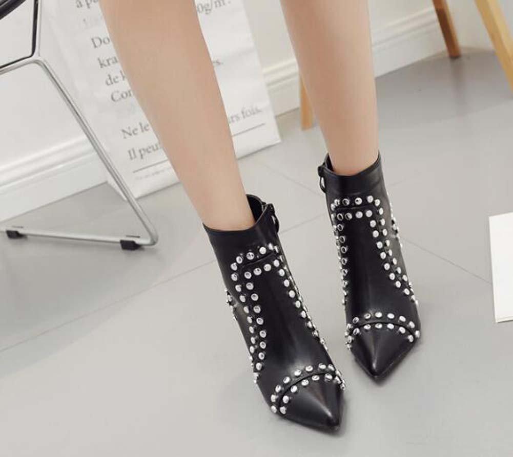 9 5 cm Scarpin Spitz Nieten Nieten Nieten Stiefeletten Martin Stiefel Frauen Mode Reine Farbe Reißverschluss Kleid Stiefel Gericht Schuhe Eu Größe 34-40 8df846