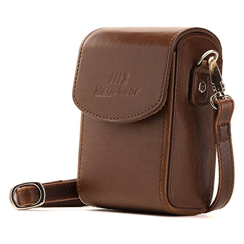 MegaGear Protective Leather Camera Case, Bag for Panasonic Lumix DMC-LX10K, Lumix DC-ZS70, Lumix DC-TZ90, DMC-ZS60, DMC-ZS100, DMC-TZ80, TZ100, TZ101 (Dark Brown)