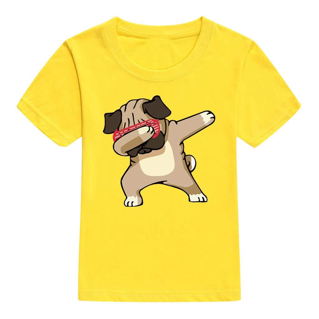 Qisc Toddler Dance Dog Tee Shirts Kids /& Toddler Summer Short Sleeve Outfits T-Shirt Tops