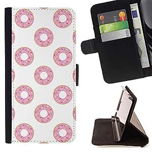 - doughnut white pink sweet pattern - - Prima caja de la PU billetera de cuero con ranuras para tarjetas, efectivo desmontable correa para l Funny HouseFOR Samsung Galaxy S5 V SM-G900