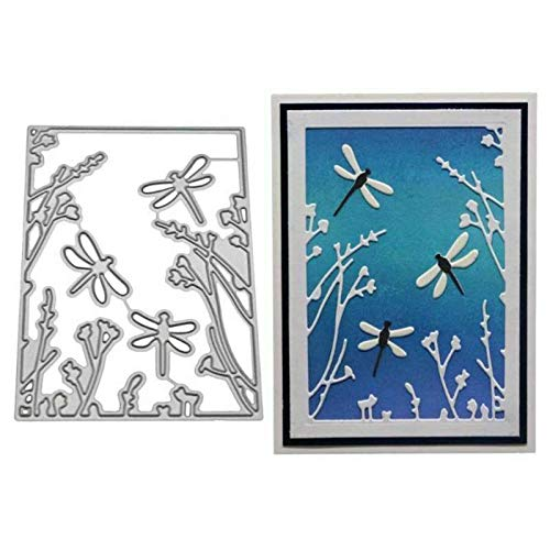 SXFSE Cutting Dies, Dragonfly Cutting Dies Stencil Metal Mould Template for DIY Scrapbook Album Embossing Craft Paper Card Making (Silver)
