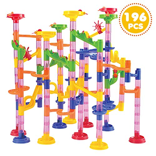 JOYIN 196 Pcs Marble Run Compact Set, Construction Building Blocks Toys, STEM Learning Toy, Educational Building Block Toy(156 Translucent Plastic Pieces+ 40 Glass Marbles)]()
