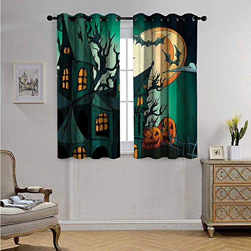 (Halloween Decorative Curtains for Living Room Haunted Medieval Cartoon Style Bats in Twilight Gothic Fiction Spooky Art Print Blackout Drapes W55 x L39(140cm x 100cm) Orange)