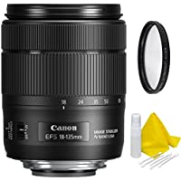 Canon EF-S 18-135mm f/3.5-5.6 Image Stabilization USM Lens (Black) with High Definition Ultra Violet UV Filter + Lens Cleaning Kit