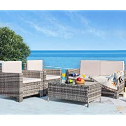 Garden and Outdoor Homall 4 Pieces Outdoor Patio Furniture Sets Rattan Chair Wicker Conversation Sofa Set, Outdoor Indoor Backyard Porch… patio furniture sets
