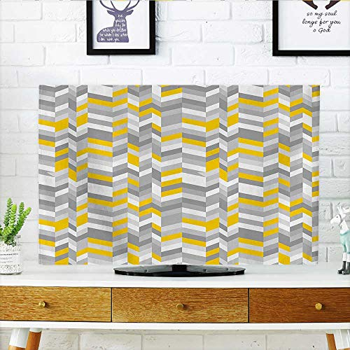 Auraisehome Dust Resistant Television Protector Yellow Geometric Vintage 60s Inspired Zig Zags Marigold Charcoal Grey and White tv dust Cover W30 x H50 INCH/TV 52