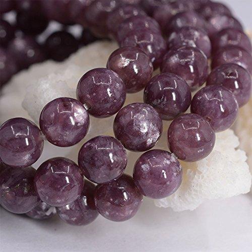 Justinstones Natural Lepidolite Lithium Mica Gemstone 8mm Round Beads Stretch Bracelet 7 Inch Unisex
