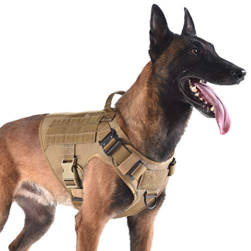 ICEFANG Tactical Dog Harness with 2X Metal Buckle No Pulling, Front Leash Clip Hook