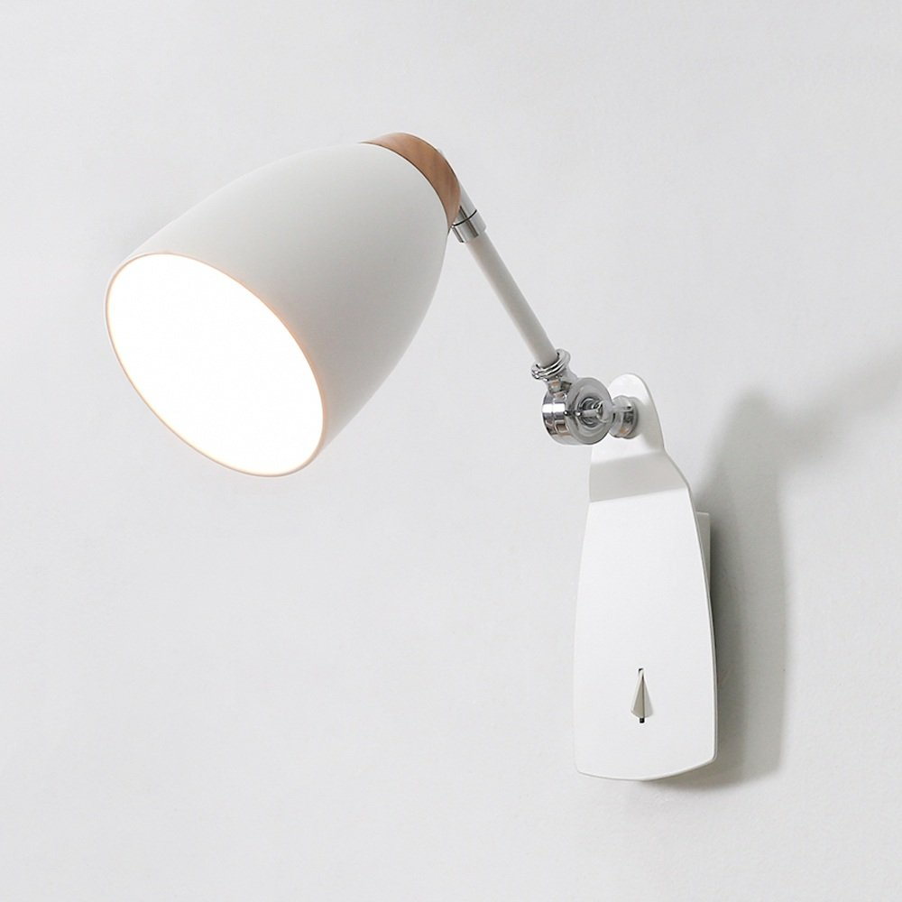 Nordic Adjustable Wall Light Modern Simple Black/White Integrated Switch Wood Iron Wall Lamp Bedside Bedroom Study Room E27 Reading Fixture Sconce ( Color : White )