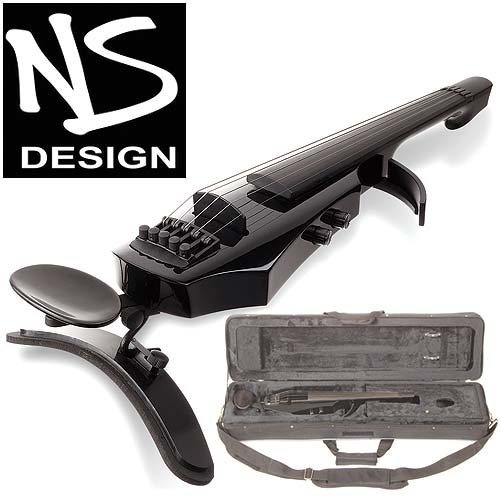 NS Design WAV-5 Electric 5-String Gloss Black Violin with Hard Case by NS Design