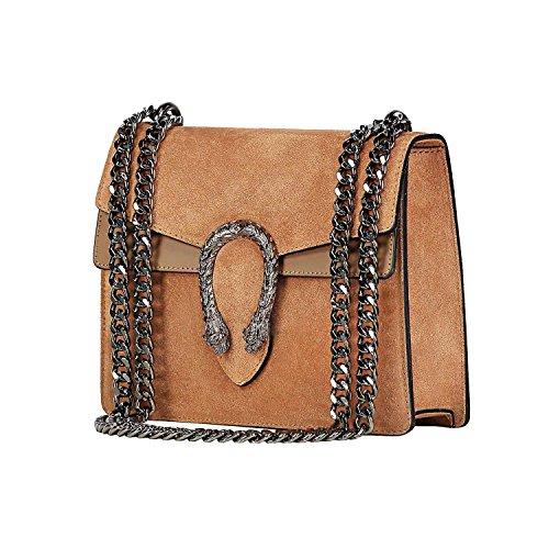 suede flap chain cross leather Mini Italian bag Camel RACHEL genuine bag body evening designer purse H8qvWR5w