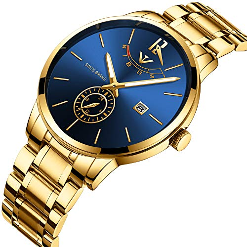 51aJpUL9hPL. SS500  - NIBOSI Mens Analogue Quartz Watch with Stainess Steel Strap Top Brand Luxury Business Quartz Watch Men Full Steel Fashion Waterproof (Gold Blue)