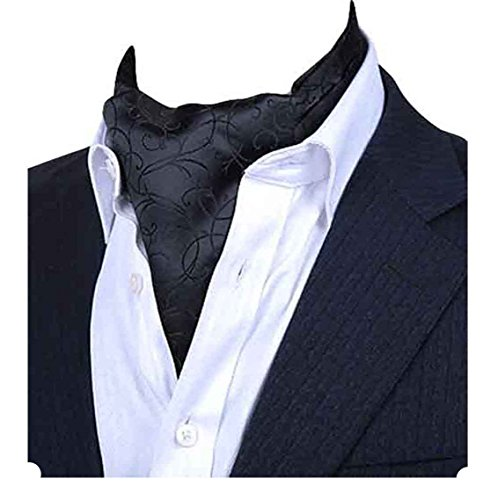 Ascot Tie - MENDENG Men's Black Paisley Jacquard Woven Silk Cravat Formal Self Tie Ascot
