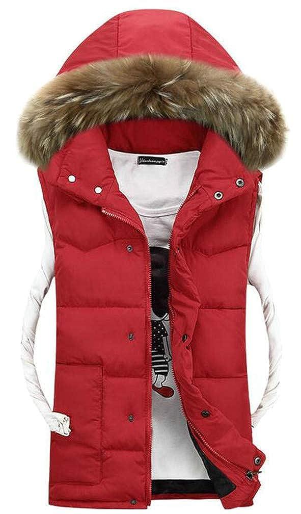 Sweatwater Men Zip Unisex Classic Hooded Quilted Button Fleece Jacket Down Vest