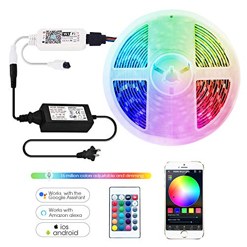 (Smart LED Strip Lights RGBW Kit Compatible with Alexa and Google Assistant,Smart Wireless Wi-Fi Controller with 24 Keys Romote)