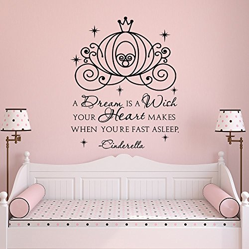 N.SunForest Cinderella Carriage Wall Decals for Girls- A Dream is A Wish Your Heart Makes Quote Wall Decal- Fairy Wall Decal Girls Bedroom Decor -