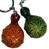 Leather Bag-charms/Key-chain, a Pair of Turtle Shape,Green & Brown