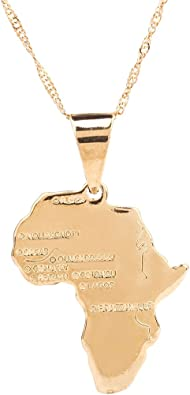 Africa Map Pendant Amazon.com: 24K Gold Plated African Map Pendant Necklace Jewelry