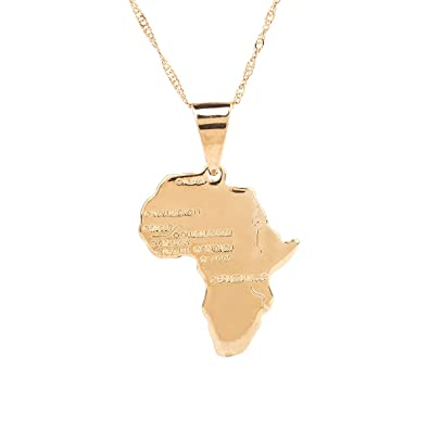 Amazon.com: 24K Gold Plated African Map Pendant Necklace Jewelry